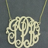 Monogrammed Sterling or 14k Gold Signature Necklace | Marley Lilly