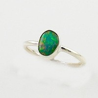 Ethiopian Opal Solitaire Sterling Silver Ring