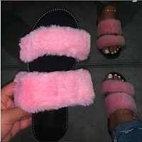 2020 new women's plus size warm plush slippers shoes