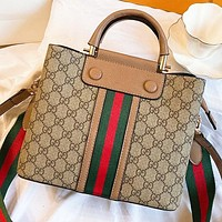 GUCCI Fashion New Stripe More Letter Leather Shoulder Bag Crossbody Bag Handbag