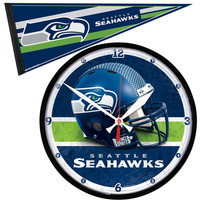 Seattle Seahawks NFL Round Wall Clock and Pennant Gift Set