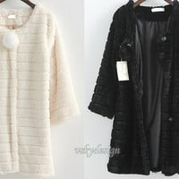 Faux fur coat woman/ lady winter fur coats/black beige