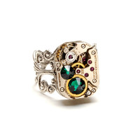Steampunk Ring Steampunk Vintage Watch Ring May Birthstone Emerald Green Silver Ring Steam Punk Steampunk Jewelry by Victorian Curiosities