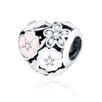 Fit Pandora Original Bracelet Charms Sterling Silver 925 2016 Summer Jewelry Enamel Poetic Blooms With Zircon Flower Heart Bead