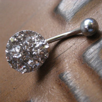 Silver Druzy Belly Button Jewelry- Faux Crystal Pyrite Cluster Navel Piercing Ring Stud Glitter Glittery Gray Black Metallic Bar Barbell