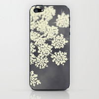 Black and White Queen Annes Lace iPhone & iPod Skin by Erin Johnson