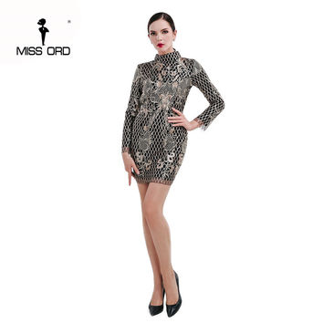 Free Shipping  Missord 2017 Sexy tight o-neck long sleeve halter sequin and embroidery dress FT4659