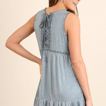Blue Washed Lace Detail Criss Cross Dress