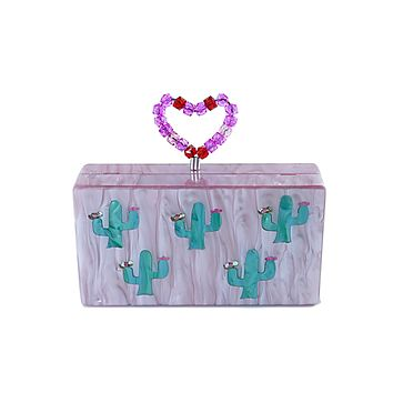 Blush Pink Cactus Heart Handle Clutch