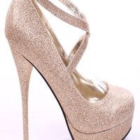 GOLD GLITTER CROSS STRAP HIGH HEELS