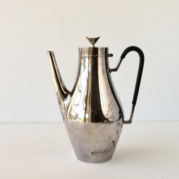 Vintage Mid Century John Prip Reed and Barton Denmark Coffee Pot 1720, Silver Plated Modernist Coffee Pot