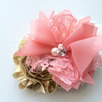 Coral and Gold Flower French Barrette for Women - Coral Flower Hair Clip - Shabby Flower Barrette - Large Hair Clip for Girls - Fashion Clip