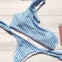 2017 Blue And White Stripped Bikini Set Swimsuit Bathing Suit Swimwear Beachwear For Women