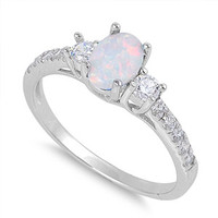 925 Sterling Silver CZ Oval Lab Opal Center Ring 6MM