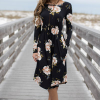 Boardwalk Black Floral Dress