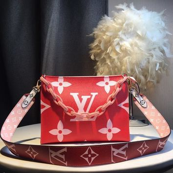 Kuyou Gb59717 Lv Louis Vuitton Big Chain Leather Rde Inclined Shoulder Bag 25*20*5