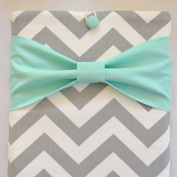 """Macbook Air 11 Sleeve MAC Macbook 11"""" inch Laptop Computer Case Cover Grey & White Chevron with Mint Bow"""