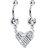 Clear Gem Holding Hands Best Friend Heart Dangle Belly Ring Set | Body Candy Body Jewelry