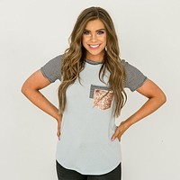 Light Blue Top with Black Stripe and Sequin Pocket