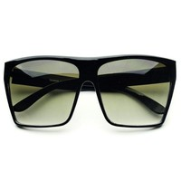 Large Retro Style Square Flat Top Sunglasses Shades in Black Gold FT056