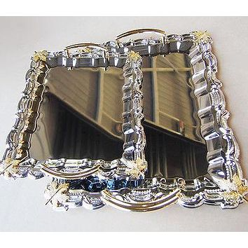 Reflective Shine Rectangular Serving Tray with Gold Handle, 2-Set