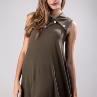 The Camille SLEEVELESS COWL NECK KNIT DRESS- Olive color