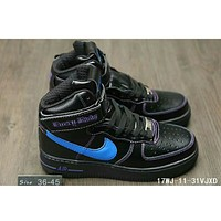 Nike Air Force One trendy classic in the help plate shoes F-HAOXIE-ADXJ Black + blue hook