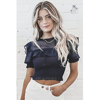 Lady Like Navy Ruffle Top