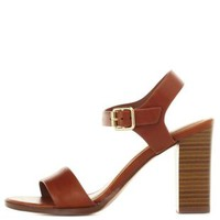 Single Strap Chunky Heel Sandals by Charlotte Russe