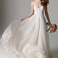 Watters 'Kai' V-Neck Lace & Organza A-Line Gown (In Stores Only) | Nordstrom