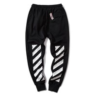 OFF WHITE fashion new fleece-cut pants hot seller pair of casual ankle pants Black