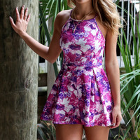 Floral Dreamer Purple & Pink Sleeveless Romper