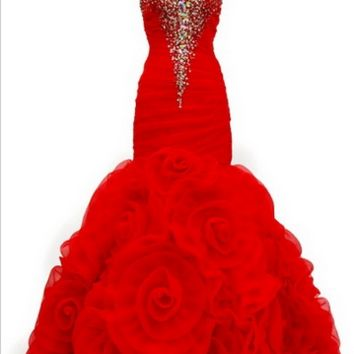 KC131518 Red Mermaid Prom Dress by Kari Chang Couture