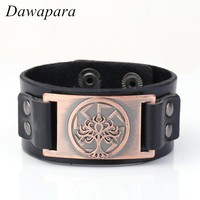 Dawapara Life of Tree Slavic Metal Sheet Leather Bracelets Ethnic Wristband Genuine Leather Chain Cuff Bangle for Men Jewelry