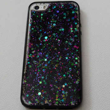 Twilight Holographic stars with black, purple and teal glitter – black edging iPhone 6+, 6, 5s, 5c, 5, 4s, 4 phone case Samsung S5, S4, S3