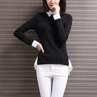 OL Black Shirt Women Peplum T-shirt False Two Piece Pullover Shirt Korean Style Long Sleeve Camisa