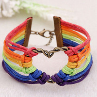 Lesbian Pride Flag Gay Braid Rainbow Bracelet Charm Love Valentine's Gifts HU