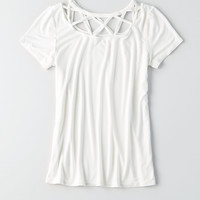 AEO Soft & Sexy Cage-Neck T-Shirt, Natural White