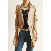 Khaki Turn Down Collar Drawstring Waist Coat