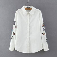 White Butterfly Embroidery Collar Button Shirt
