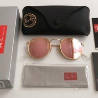 AUTHENTIC ROSE GOLD RAY BAN 3447 ROUND METAL SUNGLASSES