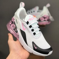 Nike Air Max 270 White Black Pink Floral Running Shoes