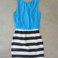 Teal on Stripes Dress [7117] - $36.00 : Feminine, Bohemian, & Vintage Inspired Clothing at Affordable Prices, deloom