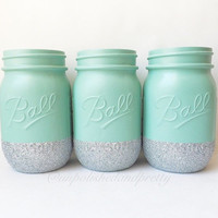 Glitter Mason Jars, wedding decor, mason jars, painted mason jars, glitter , baby shower decor, jars, glitter