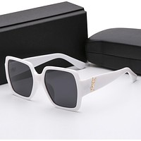 YSL Yves Saint Laurent Popular Women Men Cute Sun Shades Eyeglasses Glasses Sunglasses White I12382-1
