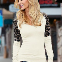 Causal Leopard Patchwork Long-Sleeved T-Shirt  B0013468