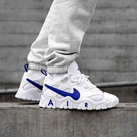 NIKE AIR BARRAGE LOW new colorblock platform sneakers Shoes White&Blue