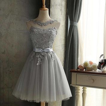 Women's Short A-Line Backless Sleeveless Tulle Mini Prom Party Dress