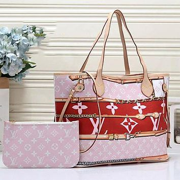 Louis Vuitton LV Women Leather Tote Handbag Shoulder Bag Purse Wallet Set Two-Piece Pink&Red
