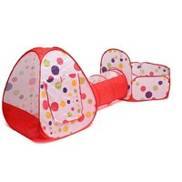 3pcs/set Foldable Kids Toddler Tunnel Pop Up Play Tent Toys For Children